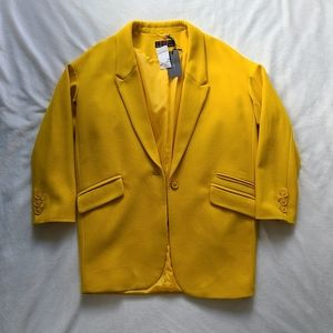 Oversized wool blend blazer coat